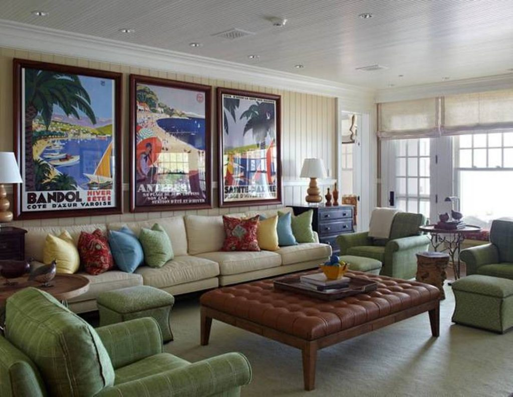 beige-beach-warm-living-room-decorating-ideas-with-beach-poster-framed-and-tan-sofa-and-colorful-cushions-and-green-chairs-and-tufted-ottoman
