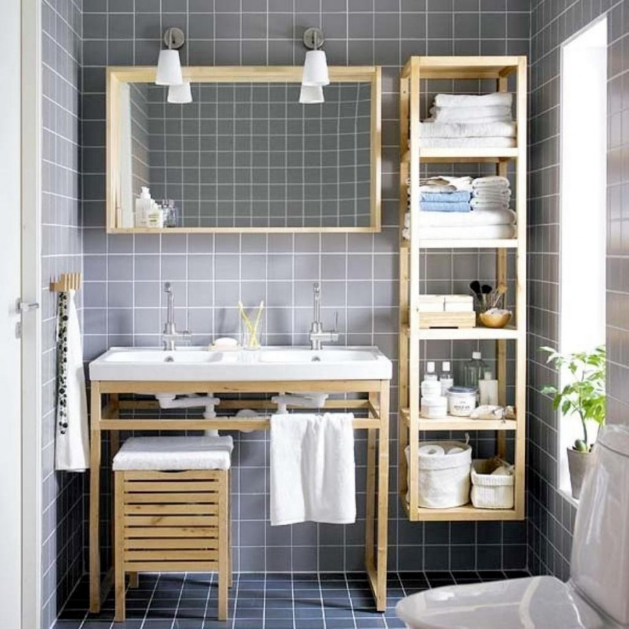 cool-small-bathroom-design-ideas-with-wooden-bathroom-shelving-units-and-wall-sconce-also-grey-wall-tiles-bathroom-915x915