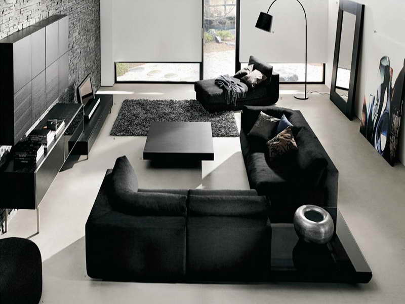 How-to-Decorate-a-Living-Room-with-Dark-Furniture-with-Black-Carpet