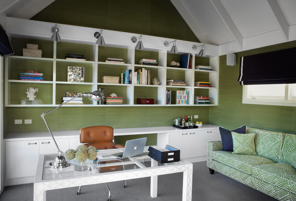 elegant-home-office-photo-in-melbourne-with-green-walls-carpet-and-a-freestanding-desk