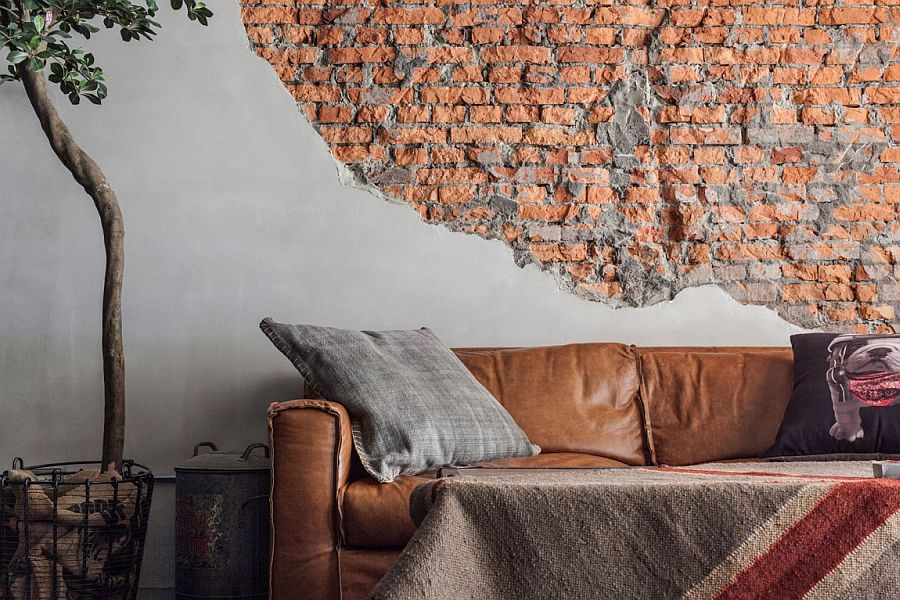 Unfinished-and-exposed-brick-wall-in-the-living-room